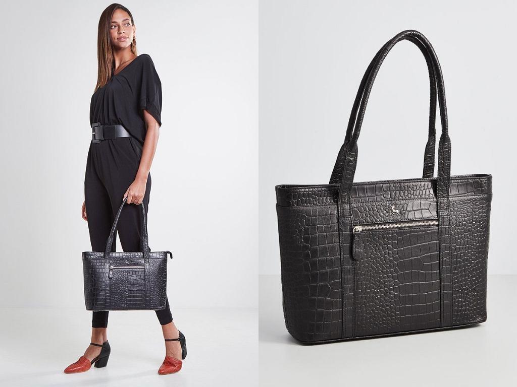 czarne torebki shopper