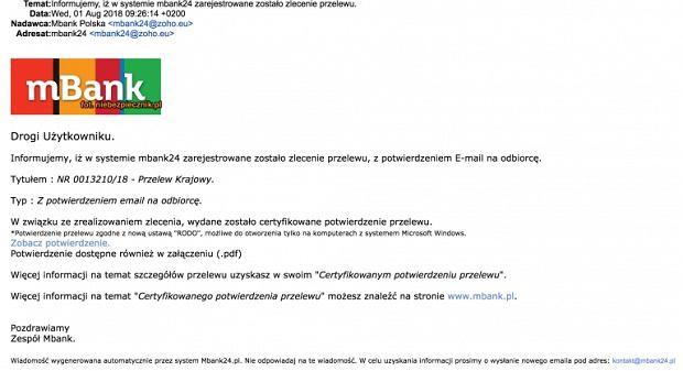 Fałszywy e-mail od mBanku