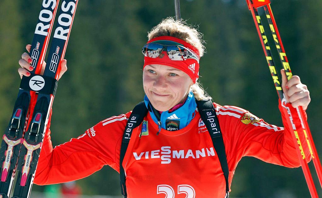 Olga Zajcewa jedna z biathlonistek zdyskwalifikowanych za doping w 2014 r.