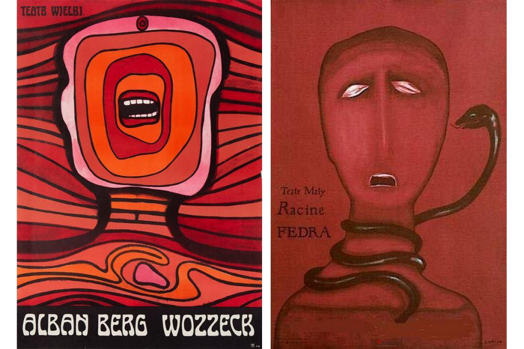 Polskie plakaty Jana Lenicy: Wozzeck Albana Berga i Fedra, Jean Racine.