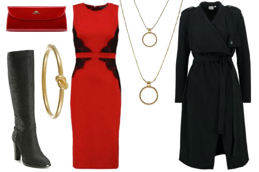 czerwona sukienka, granatowy trencz, delikatna biżuteria