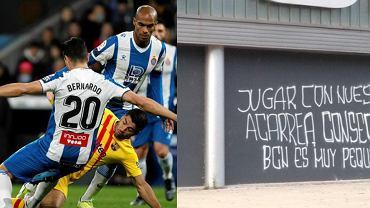 Kibice Espanyolu grożą piłkarzom napisami na klubowych obiektach