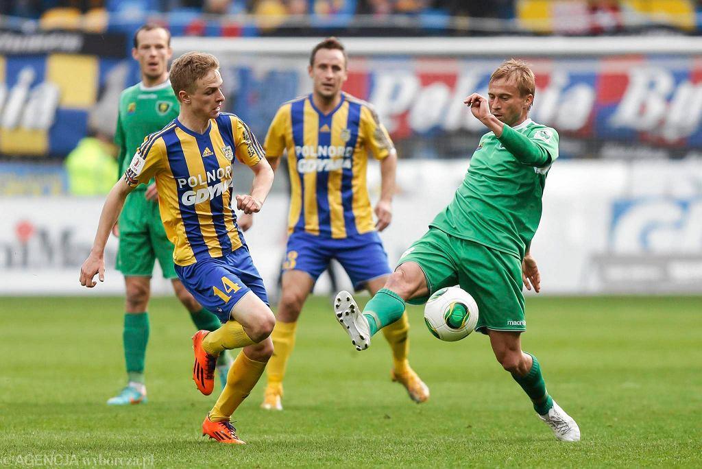 Arka Gdynia - GKS Katowice 3:0. Na zdjęciu Mateusz Szwoch