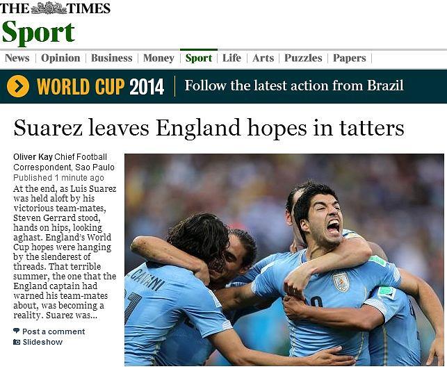 The Times: Suarez zostawia nadzieje Anglii w strzępach