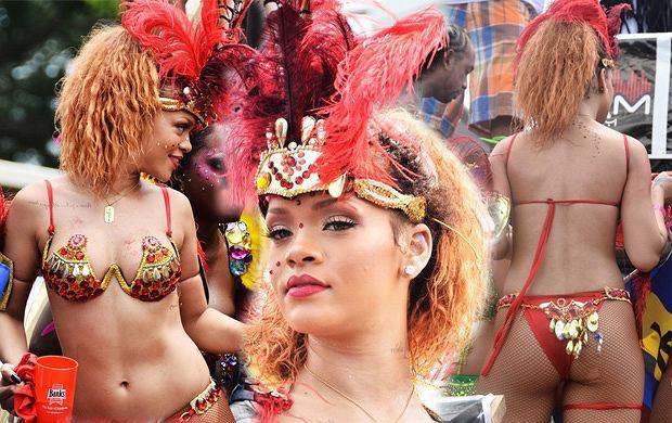Rihanna podczas karnawału na Barbadosie - nareszcie bez peruki!