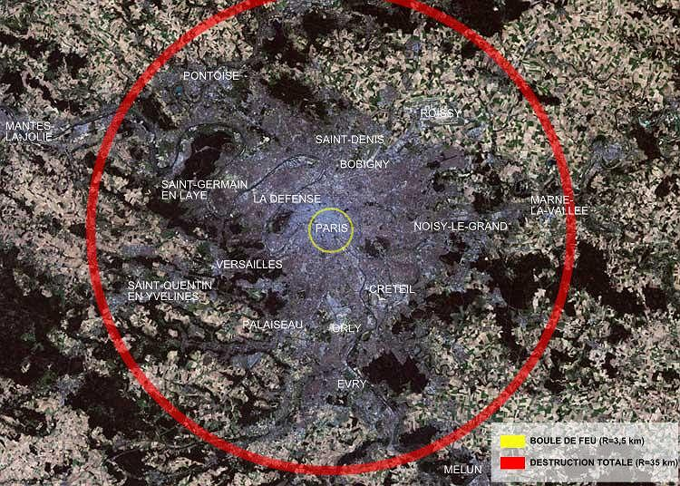 Obszar całkowitych zniszczeń - na przykładzie Paryża