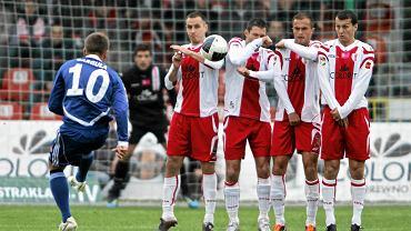 Piłkarze ŁKS w meczu z Wisłą