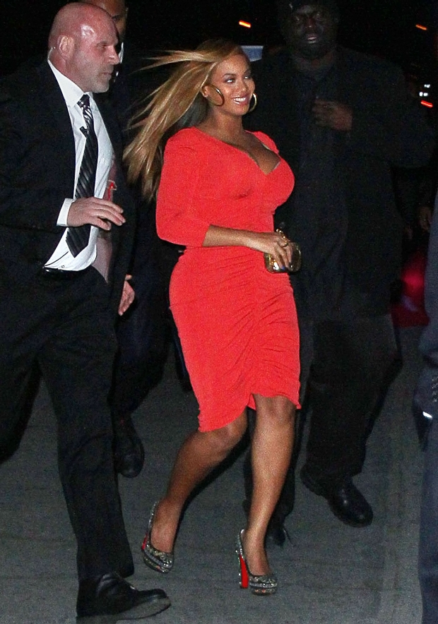 First candid photos of Beyonce since giving birth, out in NYC with Jay-Z (not pictured). The new mum, who gave birth to daughter Blue Ivy on January 7, stepped out to celebrate the first of two nights of Jay-Z performing at Carnegie Hall to benefit the United Way of New York City and the Shawn Carter Scholarship Foundation.  Pictured: Beyonce