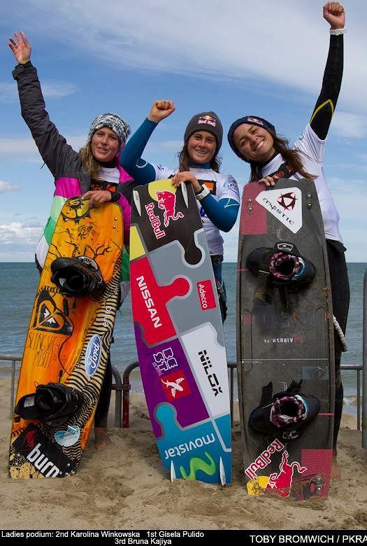 Dziewczyny na podium: Karolina Winkowska, Gisela Pulido i Bruna Kajiya