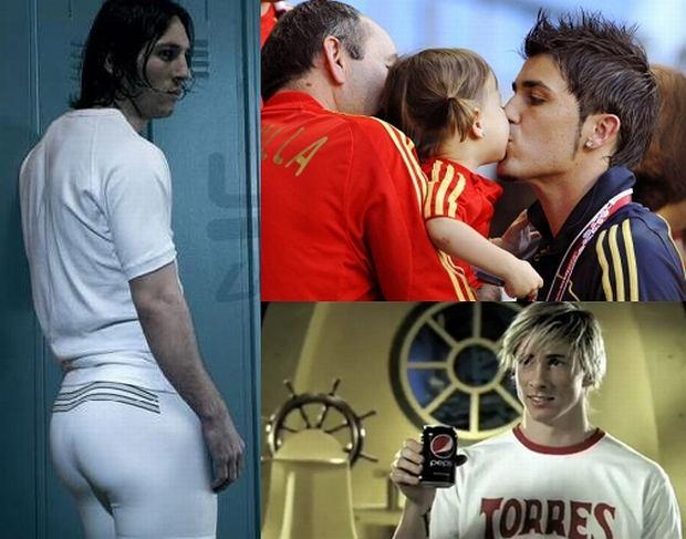 Leo Messi, David Villa z córką, Fernando Torres