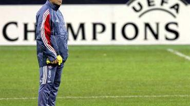 Felix Magath na treningu przed meczem z Milanem