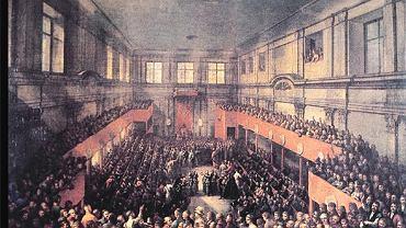 W 1791 roku Wielki lub Czteroletni Sejm (1788-92) przyjął Konstytucję 3 maja w warszawskim Pałacu Królewskim (odbudowany w latach 70. po celowym zburzeniu przez Niemców podczas II wojny światowej). Zdjęcie: Uchwalenie Konstytucji 3 maja 1791 roku, obraz Kazimierza Wojniakowskiego z 1806 roku