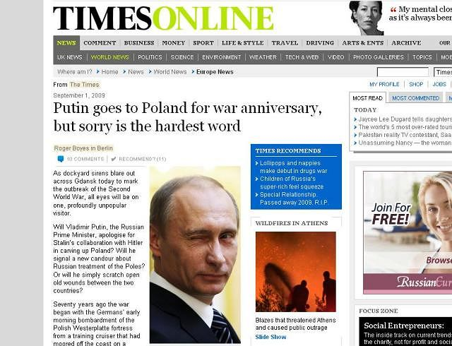 Czy Władimir Putin, przeprosi za kolaborację Stalina z Hitlerem przy podziale Polski? - pyta brytyjski Times
