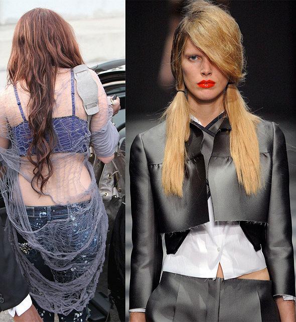 Poszarpane ubrania - trend na wiosnę 2010/Miley Cyrus/projekt: Prada