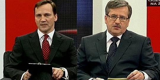 Radosław Sikorski i Bronisław Komorowski podczas debaty