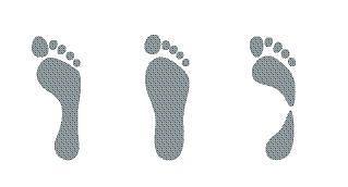 Rys. 1. Od lewej: A) stopa neutralna, prawidłowa; B) pronator - stopa ucieka do środka; C) supinator - stopa nadmiernie wydrążona czyli stajesz za mocno na zewnętrznej krawędzi