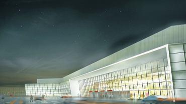 Tak ma wyglądać po zmianie elewacja starego terminalu 1 na Lotnisku Chopina. Elementy w kolorze buraczkowym zastąpi lekka przeszklona konstrukcja pasująca do nowej części portu