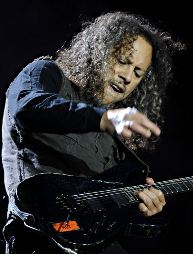 Guitarist Kirk Hammett of the American heavy metal band Metallica performs during their Sonisphere festival concert in Warsaw, Poland, Wednesday, June 16, 2010.(AP Photo/Alik Keplicz)
