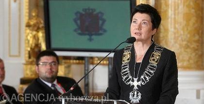 Hanna Gronkiewicz-Waltz podczas uroczystej sesji Rady Miasta