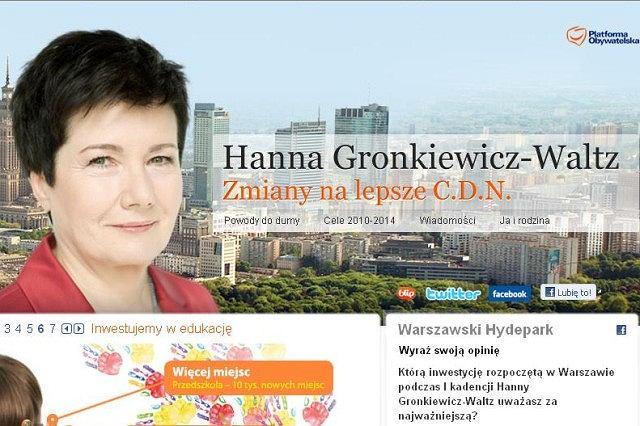 Plakat wyborczy hanny Gronkiewicz-Waltz