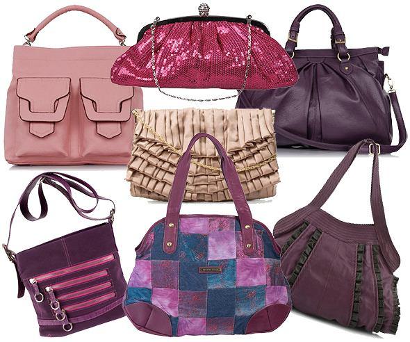 Różowe i fioletowe torebki