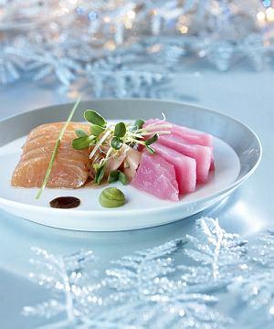 Cesarskie sashimi z tuńczyka i łososia norweskiego