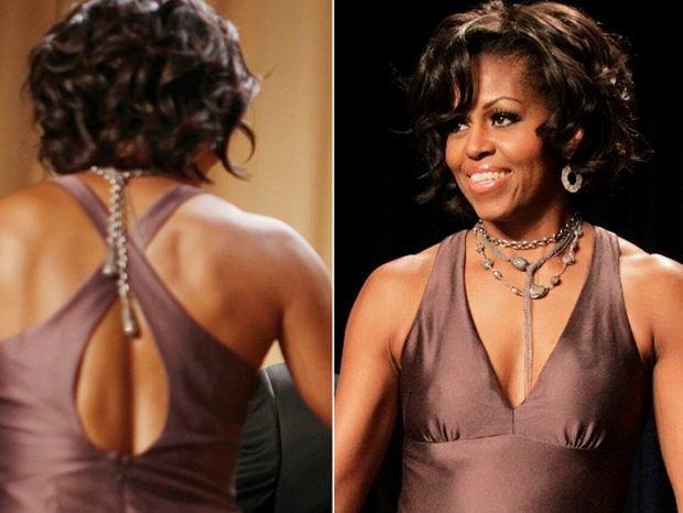 Na coroczny bal korespondentów w Białym Domu, Michelle Obama wybrała czekoladowobrązową suknię z dwoma dekoltami. Dużymi dekoltami.