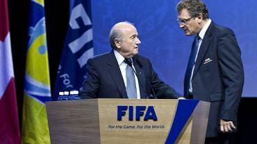Szef FIFA Sepp Blatter i Jerome Valcke