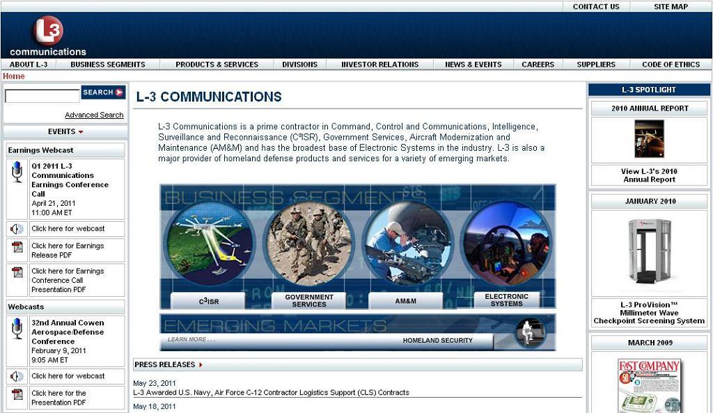 Strona firmy L-3 Communications.