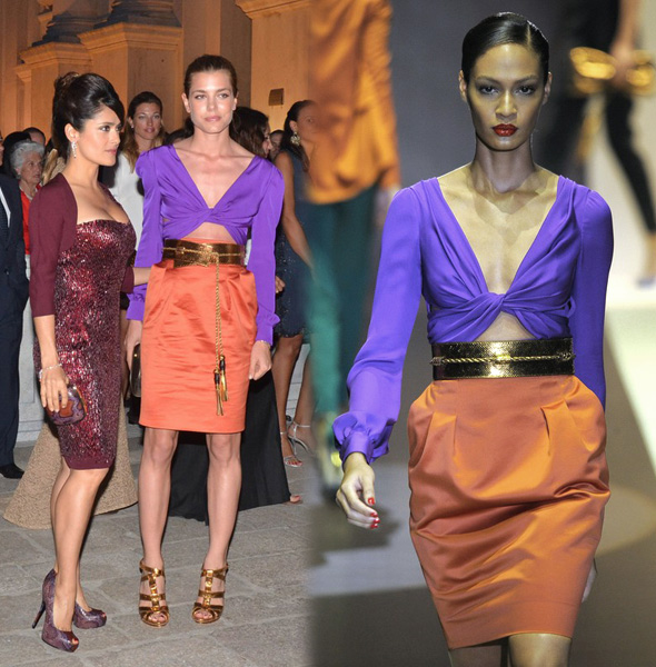 Charlotte Casiraghi w Gucci, wiosna lato 2011, Salma Hayek, modelka