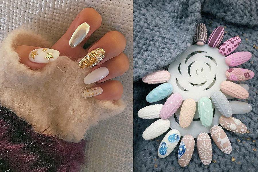 W tym roku królują nietypowe kolory pastelowe, a świąteczne wzory na paznokciach to złote i srebrne akcenty