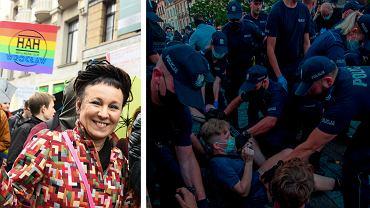 Olga Tokarczuk na Wrocławskim Marszu Równości i protest po aresztowaniu aktywistki LGBT Margot w Warszawie
