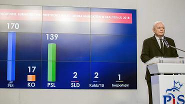 Prezes PiS Jarosław Kaczyński podsumowuje wyniki wyborów samorządowych. Warszawa, Nowogrodzka, 6 listopada 2018