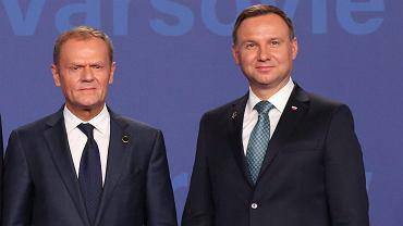 Przewodniczący Rady Europejskiej Donald Tusk i prezydent RP Andrzej Duda. Szczyt NATO w Warszawie, 8 lipca 2016