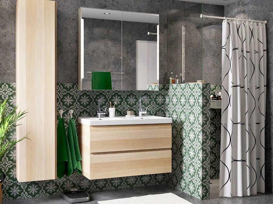 Szaro-zielona łazienka