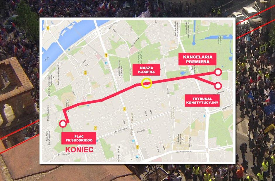 Mapa z trasą marszu
