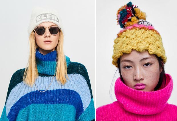 Kolorowe czapki to hit w modzie górskiej - po lewej Reserved, po prawej Zara