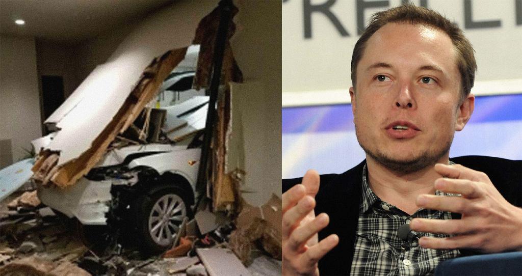 Tesla X rozbiła się w garażu