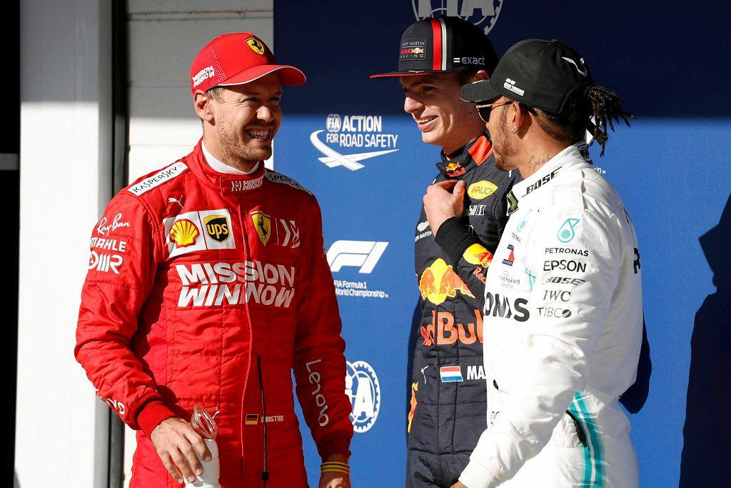 Od lewej: Sebastian Vettel, Max Verstappen, Lewis Hamilton