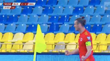 Gareth Bale cieszący się z hat-tricka w meczu z Białorusią. Źródło: Twitter