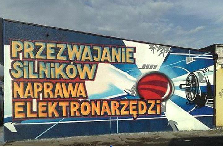 Przykład graffiti reklamującego usługi elektryczne