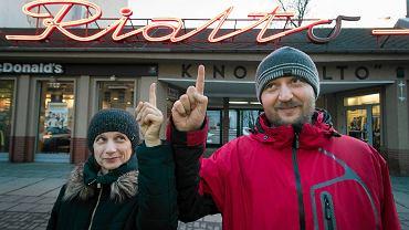 Jola Myszka i Piotr Zakens z kina Rialto. Poznań , 27 stycznia 2016