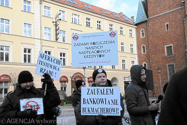 Protest osób mających kredyty w frankach szwajcarskich