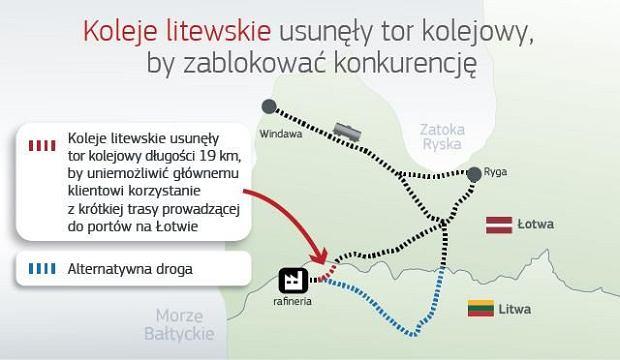 Mapka z zaznaczonym usuniętym fragmentem torów.