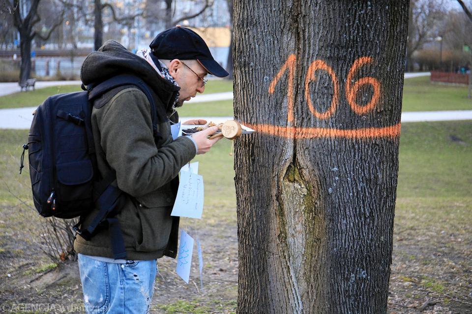 Protest przeciwko wycince drzew w parku Wieniawskiego w Poznaniu (15 marca 2019)