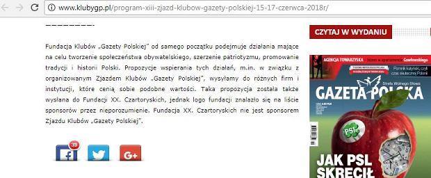 Screen ze strony http://www.klubygp.pl/program-xiii-zjazd-klubow-gazety-polskiej-15-17-czerwca-2018r/