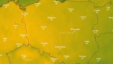 Mapa temperatury nad Polska