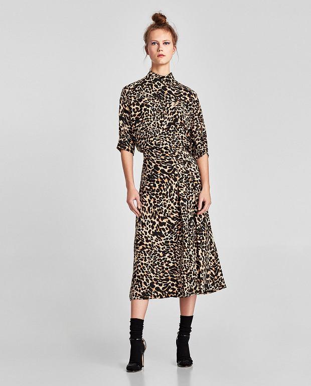 Zara - spódnica średniej długości z nadrukiem w zwierzęcy deseń; nowa cena: 69,90 zł; stara cena: 139,00 zł