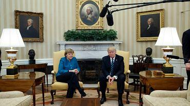 Kanclerz Angela Merkel podczas spotkania z prezydentem Donaldem Trumpem w Białym Domu.