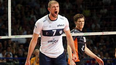 Piotr Łukasik podczas meczu ONICO Warszawa - Jastrzębski Węgiel 3:2, kwiecień 2019 r.